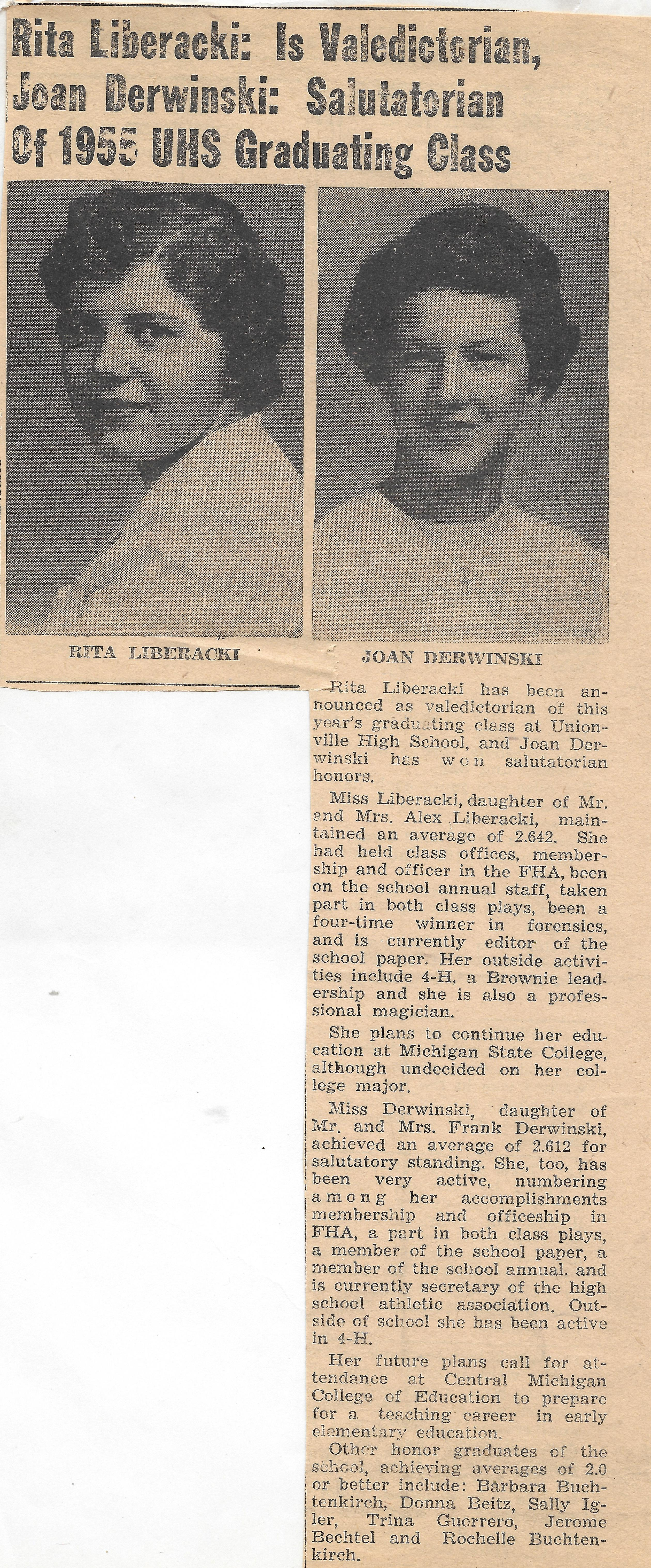 Newspaper article about Rita Liberacki being valedictorian of her high school graduating class.