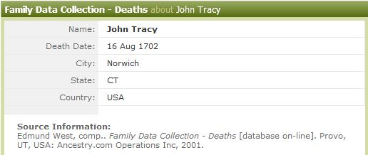 Thomas Tracy Death Record