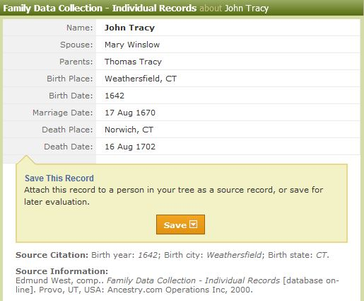 Thomas Tracy: Individual Family Data Collections