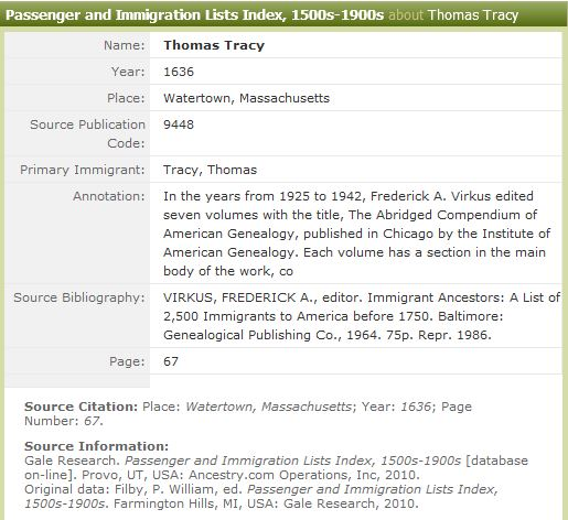 Thomas Tracy:  Passenger and Immigration Lists Index, 1500s-1900s