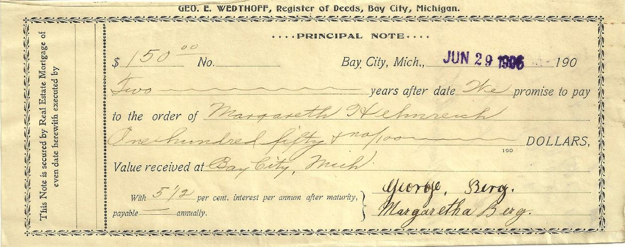 George Berg and Margaretha Henningsmith borrowed $150 from Margaret Helmreich to purchase farm land.