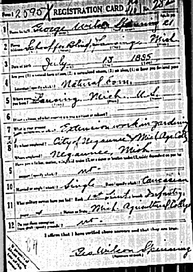 George Spinning's World War I draft registration, front.