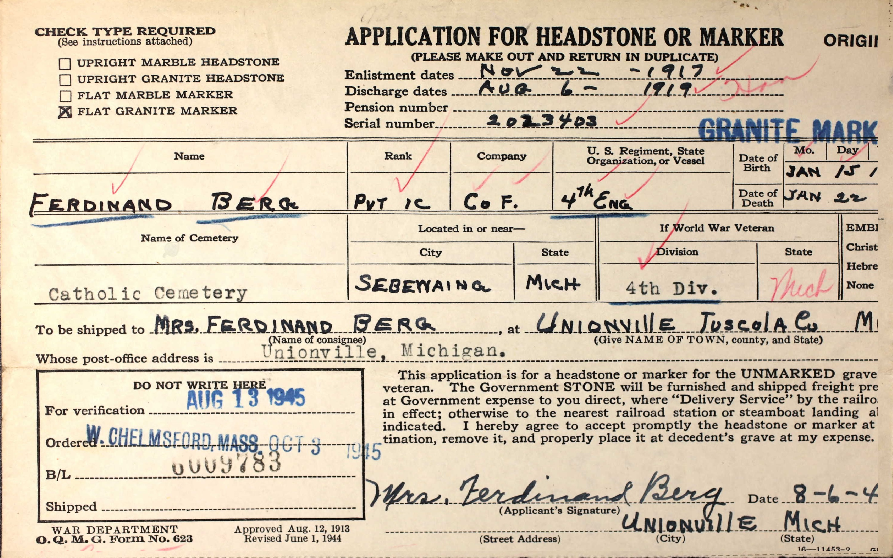 Application for military headstone for Ferdinand Berg.
