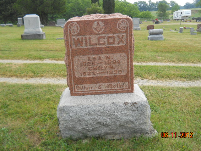 Gravestone for Asa W. Wilcox and Emily Wood.